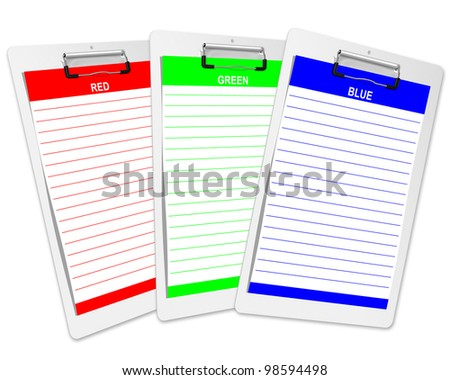 White clipboard with rgb blank paper.