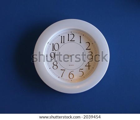 White clock blue background. City or Company worker's clock. Endless work - 7 Days and 24 Hours.