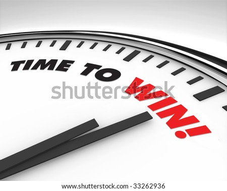 White clock with words Time to Win on its face