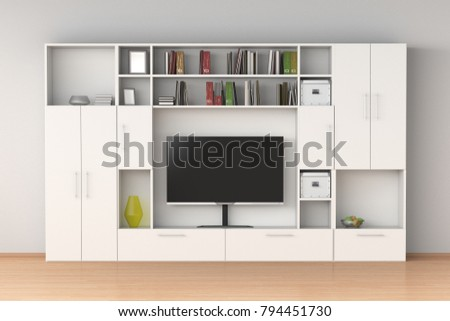 White closet wardrobe with TV screen, books, boxes in interior. 3d illustration