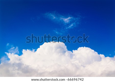 White cloud in blue sky, background - stock photo