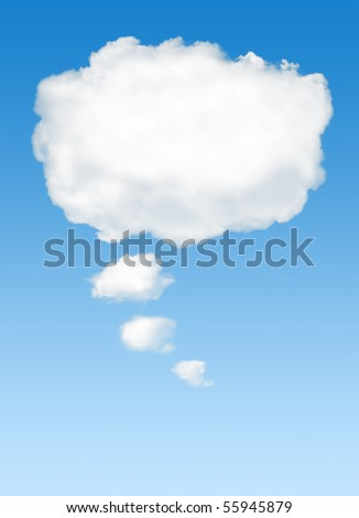 White cloud in the sky with the shape of a cartoon thinking balloon