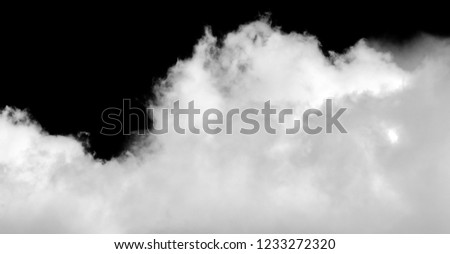 White cloud isolated on black background, Fluffy texture , Abstract smoke #1233272320