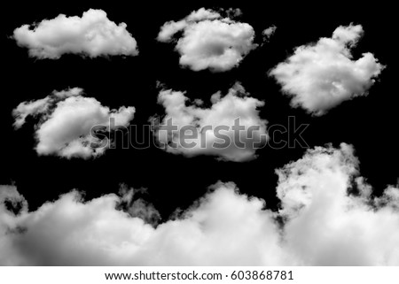 White cloud on black background - Shutterstock ID 603868781