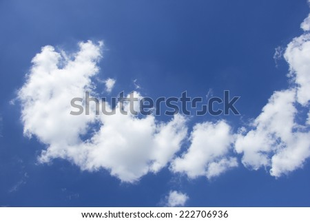 White Cloud on Blue Sky in beautiful and nice day and calm day.Beginning of winter  end of rainy season.