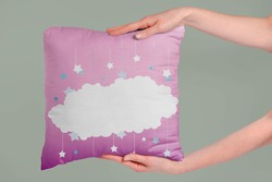 White cloud on the pink pillow