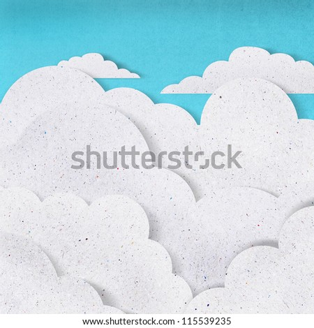 white cloud recycled paper craft  on blue background