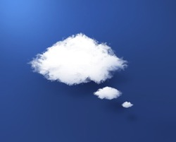 White cloud shape of a thinking balloon at blur background, concept world wide data sharing and communication.