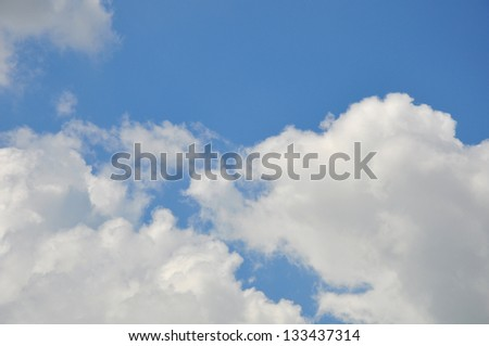 white cloud with blue sky background, blank on blue sky for sample texts , texts box, idea box.
