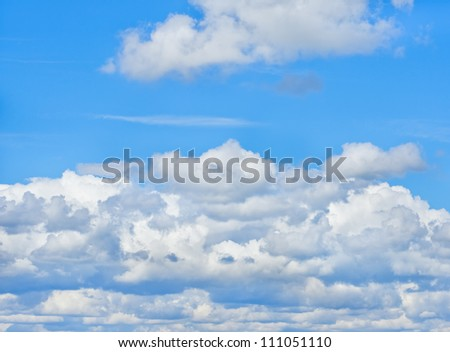 White clouds and blue sky. Nature background.
