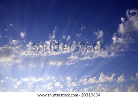 White clouds and rays.