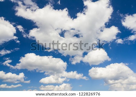 White clouds in blue sky for background - stock photo