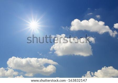 White clouds in dark blue sky background #163832147