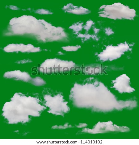 White clouds isolated. Cut Out over green chroma background. Extracted cloud collection
