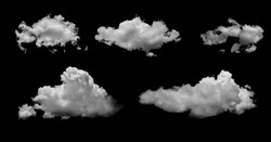 White clouds isolated on black background, clounds set on black
