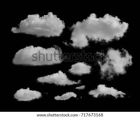 white clouds on a black background - Shutterstock ID 717673168