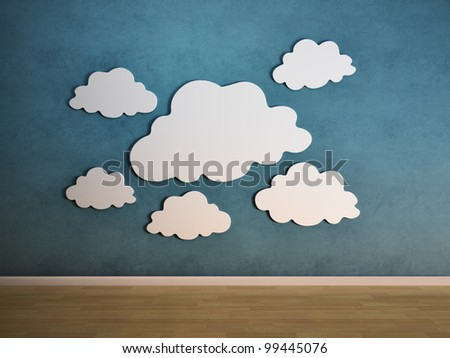 White clouds on a wall - interior view