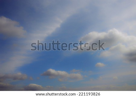 White clouds on blue sky background for the concept of mind, meditation, sleep, dream, relaxation and illusion.