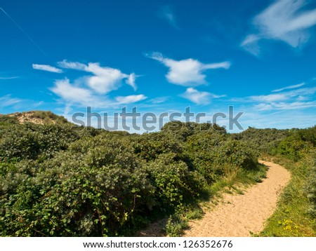 White clouds on blue sky over coast dune landscape in France