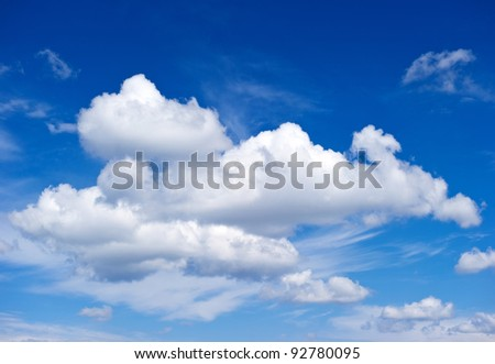 white clouds. perfect blue sky