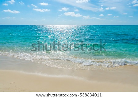 White clouds with blue sky  over calm sea beach in tropical Maldives island #538634011