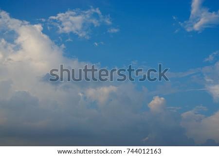 white clound in blue sky. #744012163