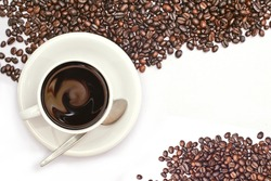 white coffee cup and beans on white background