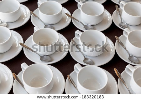 White coffee cups in the seminar room, Hotel, Thailand