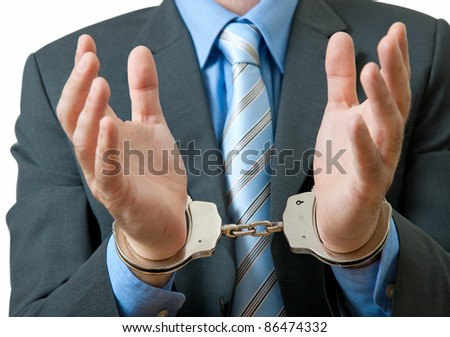 White collar criminal under arrest - stock photo