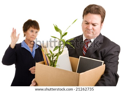 White collar worker loses his job.  Sad coworker waves goodbye.  Isolated on white.
