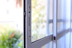 White color aluminum and glass sliding window door.