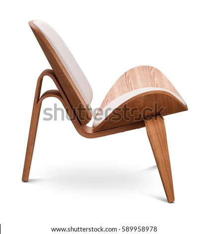 White color armchair. Modern designer chair on white background. Textile, leather, wooden chair. Series of furniture. #589958978