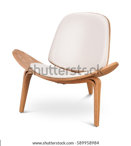 White color armchair. Modern designer chair on white background. Textile, leather, wooden chair. Series of furniture.