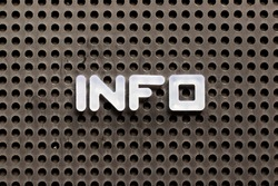 White color letter in word info on black pegboard background