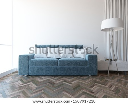 White comfortable living room interior with blue velveteen sofa, lamp on the wooden floor and large wall and white landscape in window. Home nordic interior. 3D illustration