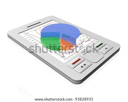White communicator with diagram on white background.