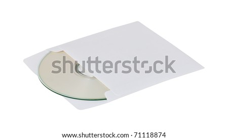 white compact disk into envelope isolated on white background