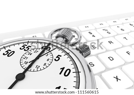 White computer keyboard with silver modern stopwatch
