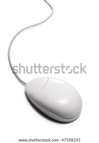 white computer mouse with cable on white background