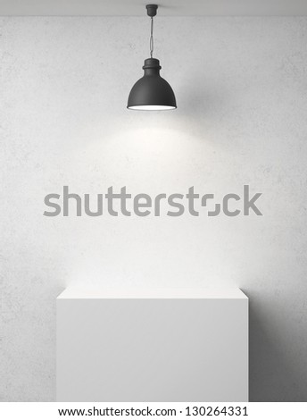 white concrete room with podium and lamp