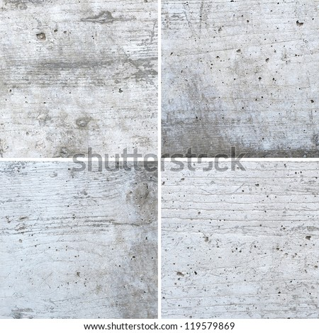 White concrete texture with wood shuttering carved on it background set