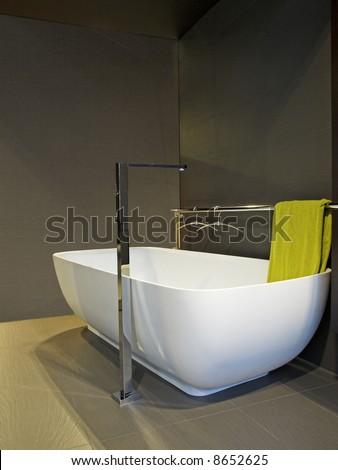 white contemporary bath-tub in Spain - stock photo