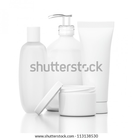 White Cosmetic Bottles on reflective ground isolated