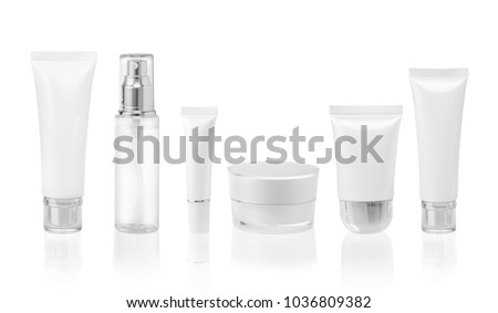 White cosmetic containers isolated on white background #1036809382