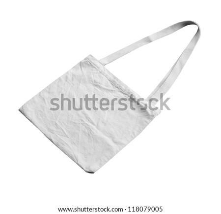 White cotton bag on white isolated background.