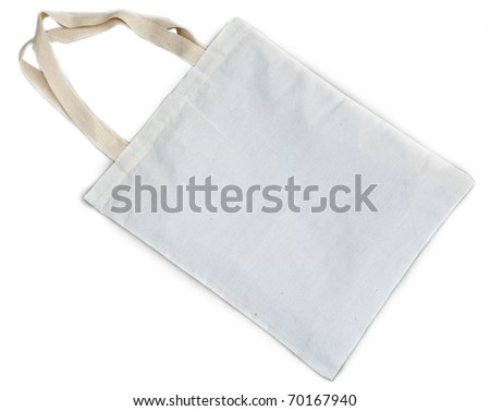 White cotton bag on white isolated background made from recycle material for environment preserve and for prevent plastic use