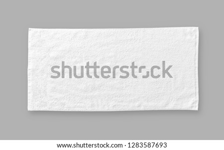 White cotton towel mock up template fabric wiper isolated on grey background with clipping path, flat lay top view  Foto stock ©