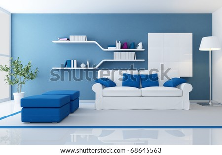 White Couch In A Blue Modern Living Room - Rendering Stock Photo ...