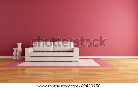 white couch in a modern lounge - rendering