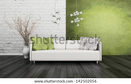 White couch in front of green wall #142502056